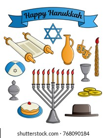 Collection of the Jewish holiday Hanukkah symbols. Traditional candlestick, star of David, hat, donut, cup of wine, jug of oil, dreidel with Hebrew letters, Torah scroll, incense box. Raster