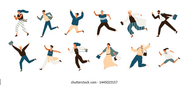 Collection of joyful running men and women dressed in casual clothes. Set of funny smiling people in hurry or haste. Happy flat cartoon characters isolated on white background. illustration
