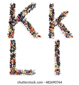 Collection of a large group of people forming the letter K and L in both upper and lower case isolated on a white background. Large 7k resolution map ,additional letters available, 3d rendering.