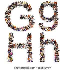 Collection of a large group of people forming the letter G and H in both upper and lower case isolated on a white background. Large 7k resolution map ,additional letters available, 3d rendering.