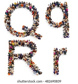 Collection of a large group of people forming the letter Q and R in both upper and lower case isolated on a white background. Large 7k resolution map ,additional letters available, 3d rendering.