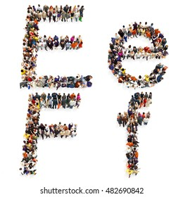 Collection of a large group of people forming the letter E and F in both upper and lower case isolated on a white background. Large 7k resolution map ,additional letters available, 3d rendering.