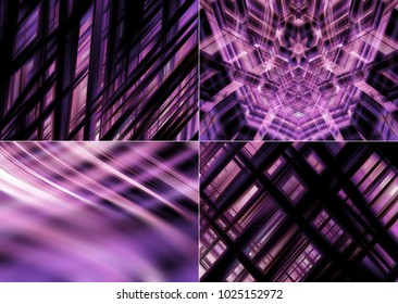 Collection of lilac Illustration. Four abstract background.