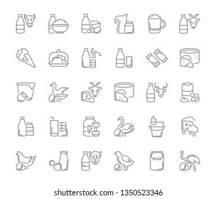 Collection of line gray icons of dairy products. Set of simple concepts for creative projects and apps. Info graphics elements and pictograms.