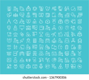 Collection of line white icons of education. Set of simple elements with bold outlines on a color background.
