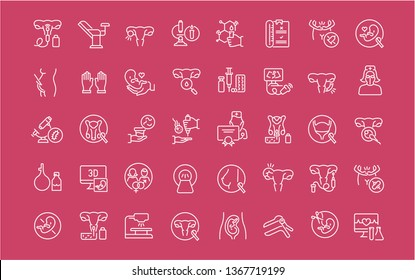 Collection of line white icons of gynecology. Set of simple elements with bold outlines on a color background.