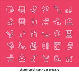 Collection of line white icons of therapy. Set of simple elements with bold outlines on a color background. Info graphics signs and pictograms.