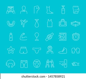 Collection of line white icons of ufc. Set of simple elements with bold outlines on a color background. Info graphics signs and pictograms.