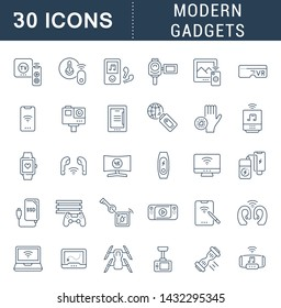 Collection linear icons of modern gadgets for modern concepts, web and apps.