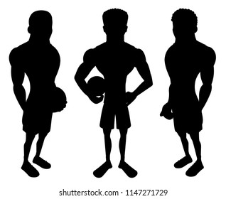 Collection of llustrated silhouettes of basketball players, black shapes isolated on a white background