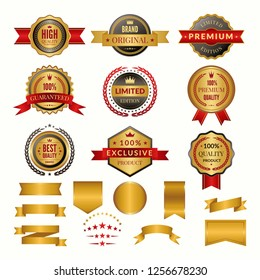 Collection of luxury gold badges and logos. labels set for yours personal design projects