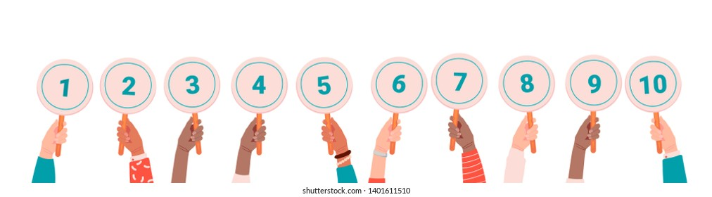 Collection of male and female hands holding round cards or signs with amount of scores got in competition, tournament or contest. Votes of judges. Colored vector illustration in cartoon style.