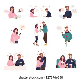 Collection of man and woman using website or mobile application for dating or searching for romantic partner on internet. Cute couple that met online. Flat cartoon colorful illustration.