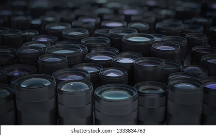 Collection of many DSLR camera lenses. Photographic equipment concept. 3D rendered illustration.