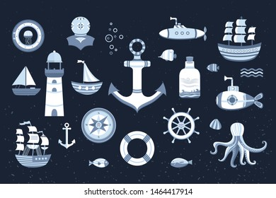 Collection of marine elements on the background with a texture. The kit symbols anchor, ship, boat, lifeboat, lighthouse, helm, submarine, fish, compass and others. Illustration of sea life.