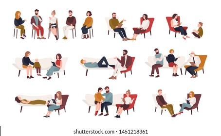 Collection of men and women or married couples sitting on chairs or lying on sofa and talking to psychotherapist or psychologist. Group or family psychotherapy. Flat cartoon illustration.
