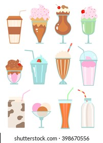 Collection of milkshakes with berries, milk beverages, ice cream on white. raster