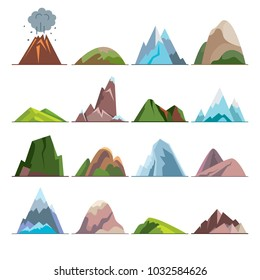 Collection of mountain icons in flat style. Different rock and hill symbols.