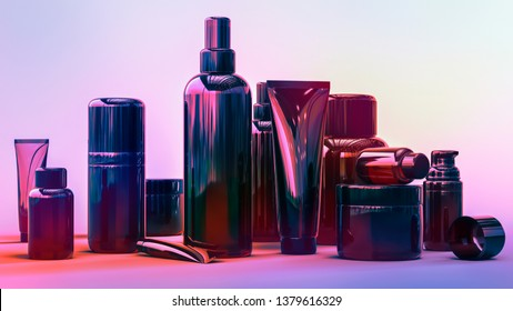 Collection of the multicolored glossy cosmetic bottles and cream tubes. The bottles look luxury and expensive. 3D rendering illustration