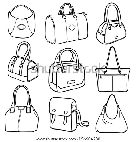 6e52c63617 Collection of nine outlines of ladies fashion handbags in different styles  and designs
