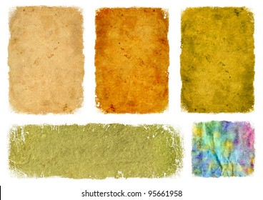 A collection of old paper with jagged edges worn. On a white background