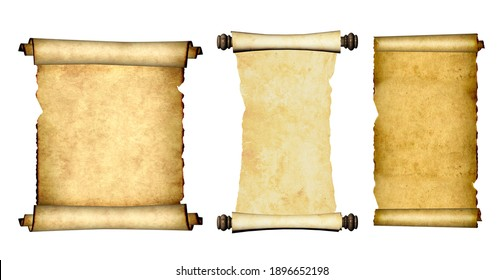 Collection of old parchments. Set of medieval scrolls. Isolated on white background. Copy space for your text. Mock up template. 3d render