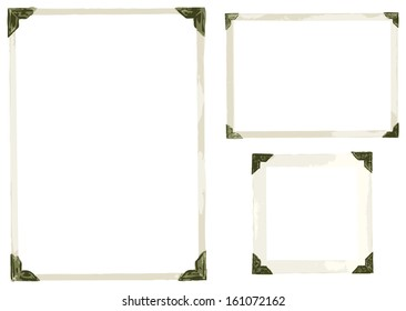 Collection of old photo corners, frames and edges isolated on white