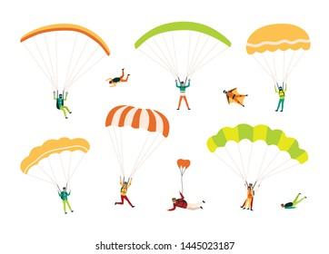 Collection of parachutists and skydivers isolated on white background. Bundle of people performing free fall, parachuting and wingsuit flying. Colorful illustration in flat cartoon style.