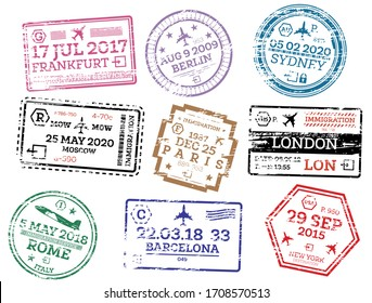 Collection of Passport Stamps Isolated on White. Set from Different Countries and Cities. London. New York. Moscow. Paris. Barcelona. Rome.
