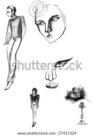 collection pencil drawings sketches people faces stock illustration