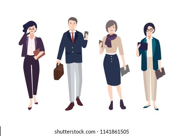 Collection of people dressed in smart clothing. Set of male and female clerks or office workers. Bundle of men and women wearing business clothes with gadgets. artoon characters. illustration