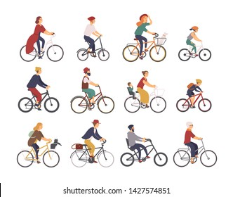 Collection of people riding bicycles of various types - city, bmx, hybrid, chopper, cruiser, single speed, fixed gear. Set of cartoon men, women and children on bikes. Colorful illustration.