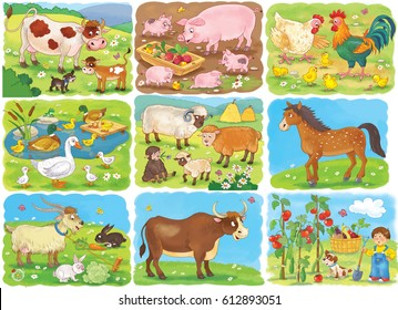 Collection of pictures with cute farm animals. Cow, pig, hen, rooster, chicks, sheep, horse, goat, bull, rabbit. Coloring page. Illustration for children. Funny cartoon characters.