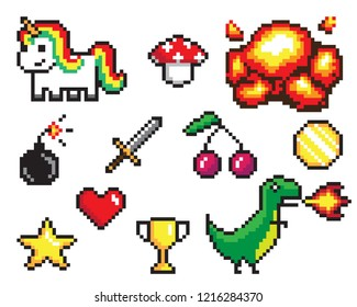Collection of pixel objects used in games, heart and star, coin and sword, bomb and explosion, dinosaur and unicorn raster illustration