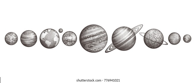 Collection of planets in solar system. Engraving style. Vintage elegant science set. Sacred geometry, magic, esoteric philosophies, tattoo, art. Isolated hand-drawn illustration