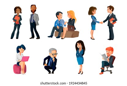 Collection of poses peoples at office. Bundle of men and women taking part in business meeting, negotiation, brainstorming, talking to each other. Colorful illustration in flat cartoon style.