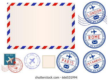Collection of postal elements. Illustration. Raster version