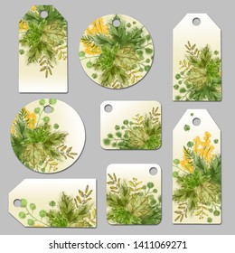 Collection of Punctured Tags, and Labels with Green Leaf Vignette. Botanical Decor for Tag, Label, Bookmark, and Corporate Stationery.