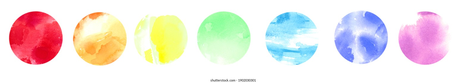 Collection of rainbow colorful circles. Watercolor abstraction set with space for text and your design.