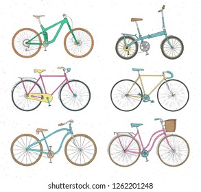 Collection of realistic drawings of bicycles of various types. Bundle of bikes of different models isolated on white background. Set of pedal driven vehicles. Colorful hand drawn illustration