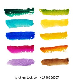 Collection of red, orange, yellow, pink, purple, blue, green, brown watercolor brushstrokes isolated on white background. Abstract watercolor stains, ink, brushstroke