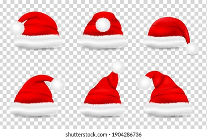 Collection of red realistic santa hat. Santa Claus holiday cap for Christmas illustration. Christmas red hats  isolated on transparent background