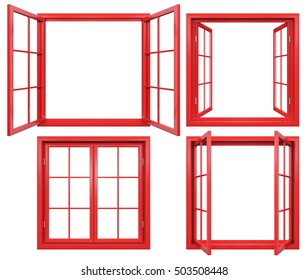 Collection of red window frames isolated on white.3D rendering