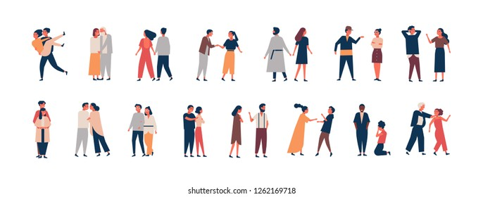 Collection of relationship development stages. Set of men and women dating, quarreling, hugging, fighting. Couples or romantic partners isolated on white background. Flat cartoon illustration.