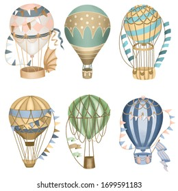 Collection of retro hot air balloons, hand drawn isolated on a white background