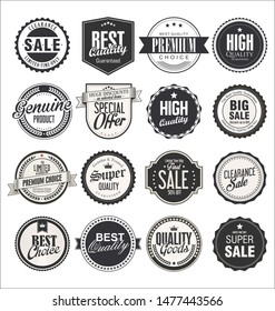 Collection of retro vintage badges and labels