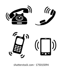 Collection of ringing classic telephone mobile and smartphones isolated  illustration