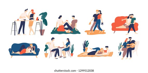 Collection of romantic couple spending time or relaxing together - having picnic, reading books, drinking coffee or wine, playing guitar, walking. Colorful illustration in flat cartoon style