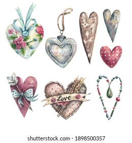 Collection of romantic hearts hand drawn in watercolor in vintage style. Heart with arrow, wooden heart, fabric hearts - illustration isolated on white background. Scrapbooking elements