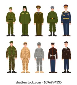 Collection of Russian and American military people or personnel dressed in various uniform. Bundle of soldiers of Russia and USA. Set of flat cartoon characters. Modern colorful illustration